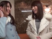 Enticing Asian teen, Minato Riku in raunchy lesbian threesome