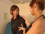 Lesbian babes Kitagawa and Sara suck pussy