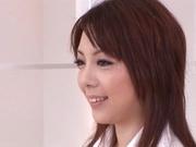 Hot redhead AV model Maki Mizusawa gets tits and pussy stimulated
