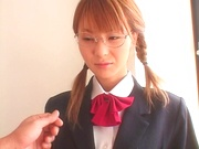 Asian schoolgirl with sexy glasses gets fucked by teacher