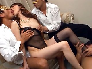 Naughty Japanese AV Model gets milf pussy banged in group action