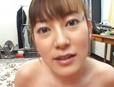 Cute MILF Minami Hoshikawa gives her hubby a nice tit fuck picture 15