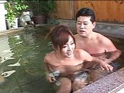 Yummy hottie Azusa Isshiki swims nude in a swimming po ol