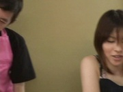 Skinny AV model Satomi gives a hand job and gets pussy pounded