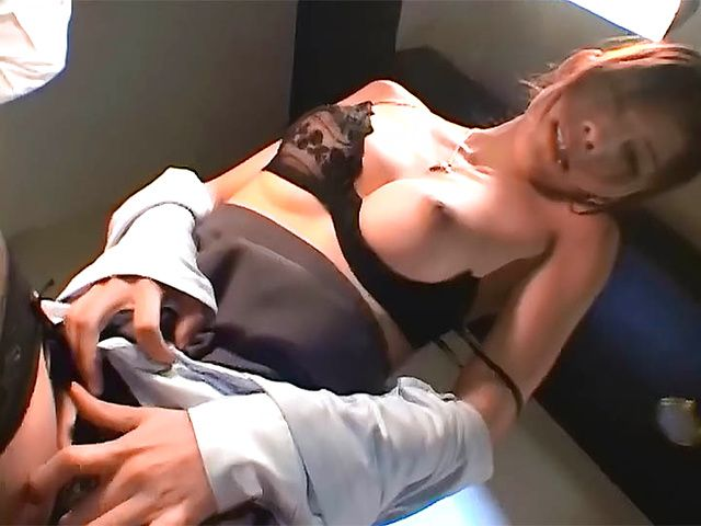 Two sexy MILFs in lingerie enjoying hardcore threesome POV