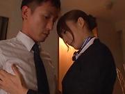 Fuyutsuki Kaede rewarded by a creamy facial indoors