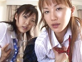 Two horny ladies in school uniform having hardcore threesome picture 12