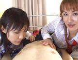 Two horny ladies in school uniform having hardcore threesome