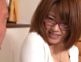 Busty Japanese milf in glasses enjoys hardcore rear sex picture 11