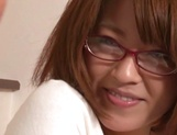 Busty Japanese milf in glasses enjoys hardcore rear sex picture 12