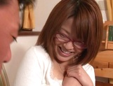 Busty Japanese milf in glasses enjoys hardcore rear sex picture 13