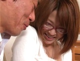 Busty Japanese milf in glasses enjoys hardcore rear sex picture 14