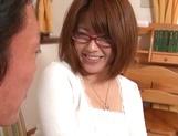 Busty Japanese milf in glasses enjoys hardcore rear sex