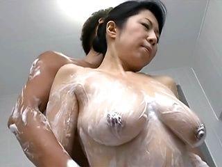 Rumiko Yanagi hot Asian mature enjoys soaping and fucking