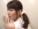 Sexy Japanese AV model gets banged in the bathroom picture 13