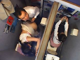 Japanese AV model is an office milf bends ass for the boss at work