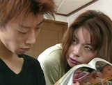 Mature Japanese AV model blows young guys fat dick