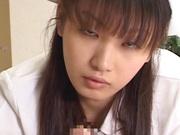 Hot nurse Akane Oozora sucks her patient and eats sperm