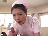 Sexy Asian nurse gives a wicked head before sex picture 8