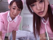 Appealing nurses Caire Hasumi and Anri Okita share hard cock