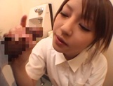 Sultry Ria Sakurai sucking dick in the washrooms picture 12