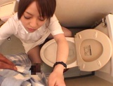 Sultry Ria Sakurai sucking dick in the washrooms picture 6