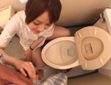 Sultry Ria Sakurai sucking dick in the washrooms picture 7