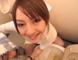 Sultry Ria Sakurai sucking dick in the washrooms picture 9
