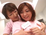 Hot lesbian sex with two stunning Japanese nurses