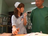 Crazy nurse Minami Kojima gives a hand job and rides cock picture 10