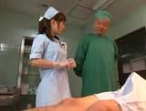 Crazy nurse Minami Kojima gives a hand job and rides cock picture 6