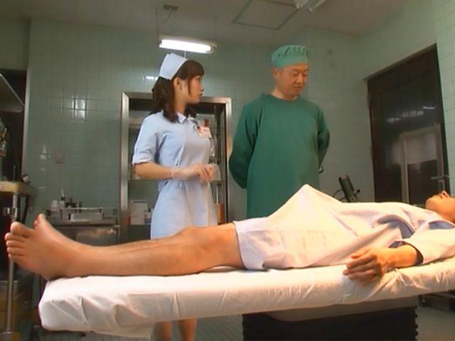 Crazy nurse Minami Kojima gives a hand job and rides cock