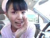 Asian nurse Nana Nanaumi gets hard fucked on the back seat picture 2