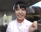 Asian nurse Nana Nanaumi gets hard fucked on the back seat picture 3