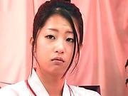 Cute Satomi Suzuki has her pussy nailed deep