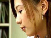 Cute nurse, Hikari Kirishma gives a titfuck and sucks dick for jizz