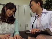 Lesbian nurse fucking her patient good