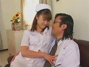 Kinky Japanese nurse blows cock on porn cam