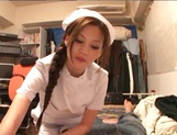 Helpful nurse Ameri Ichinose gives a hand job and sucks cock picture 9