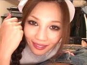 Helpful nurse Ameri Ichinose gives a hand job and sucks cock