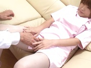 Busty Japanese nurse in white pantyhose gets her hairy pussy fucked
