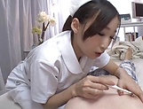 Nurse in heats deals patient's cock with her feet picture 12