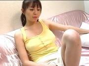 Sweet Asian milf Ai Takeuchi plays with her pussy in raw solo