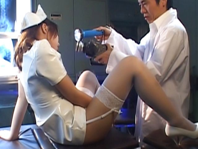 Japanese AV Model is a nurse in white lingerie plays with cock like a true diva