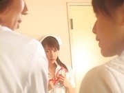 Sultry Japanese nurse in sexy white stockings is fucked by a horny doc
