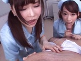 Frisky vixens Caire Hasumi and Anri Okita enjoy titfuck swallow cumshot picture 15