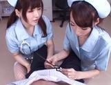 Frisky vixens Caire Hasumi and Anri Okita enjoy titfuck swallow cumshot