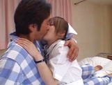 Hot nurse Ria Sakurai in a hardcore sex action gets cum on tits picture 12