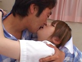 Hot nurse Ria Sakurai in a hardcore sex action gets cum on tits picture 15