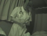 Hot nurse Ria Sakurai in a hardcore sex action gets cum on tits